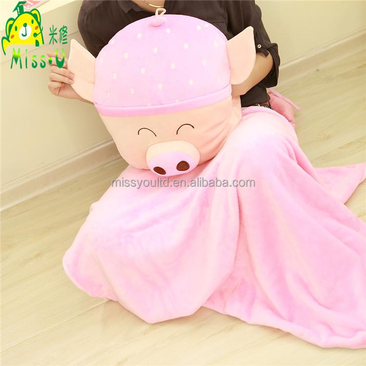 Comfortable Animal Pig Plush Blanket Pillow Triangle wholesale