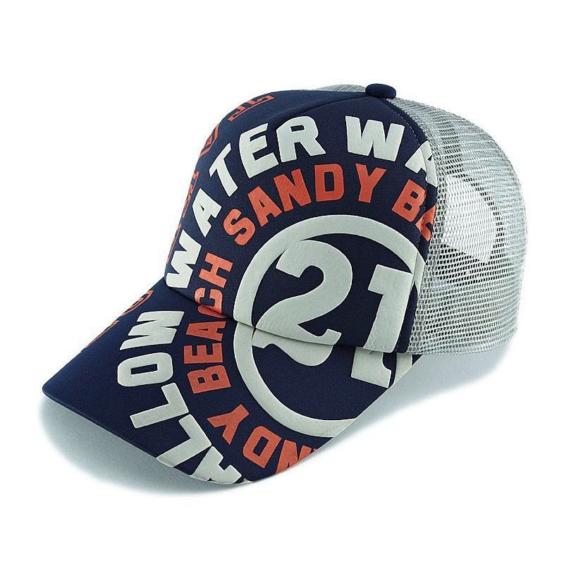 White Orange HD Printed 5 Panel Foam Trucker Caps With Lt Navy Open Market Jersy fabric White Mesh Baseball Cap Tennis Hat