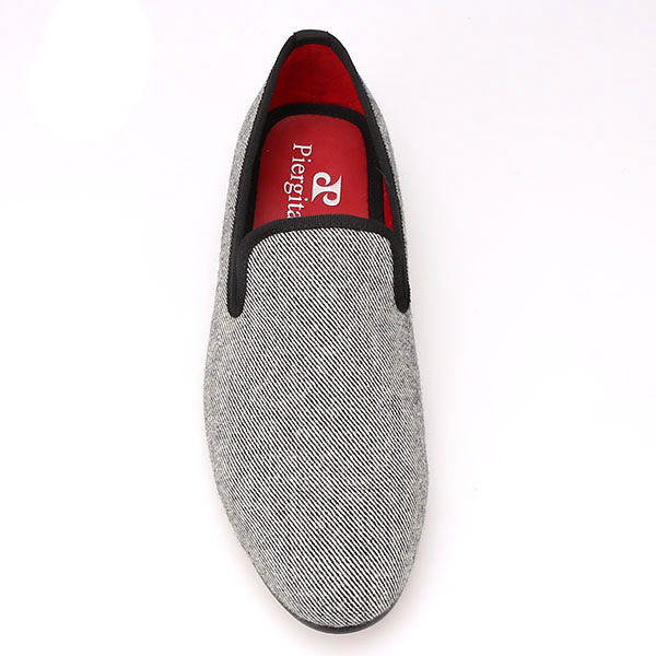 Twill Men Grey with Shoes Fabric Flats wIqqTYd