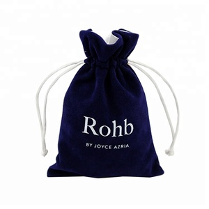 Custom printed small dark blue velvet pendant bag drawstring jewelry pouch