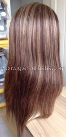 2016 Remy Full Lace Wig Silk Top PU Thin Skin Human Hair Brown Blonde Mix