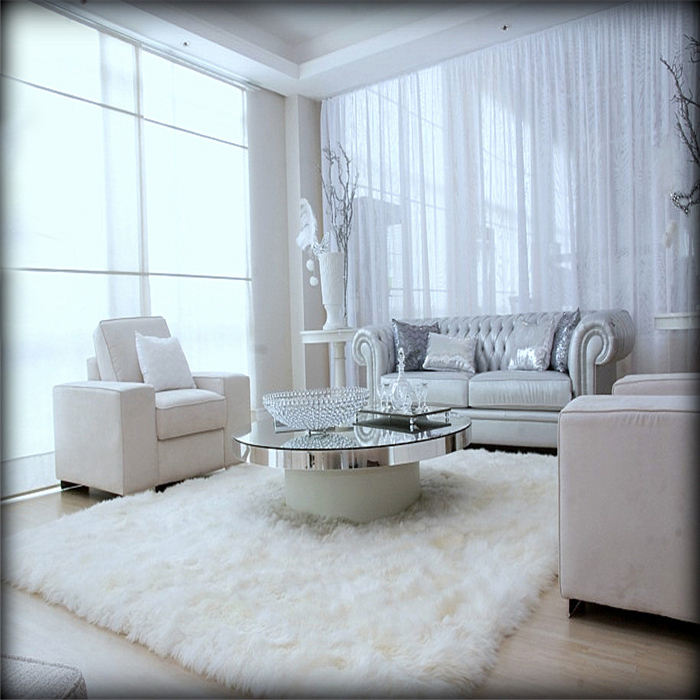 White Fur Chair Couch Cover Area Rug