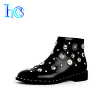 Luxuriant handmade wholesale snow short high heels boots women winter