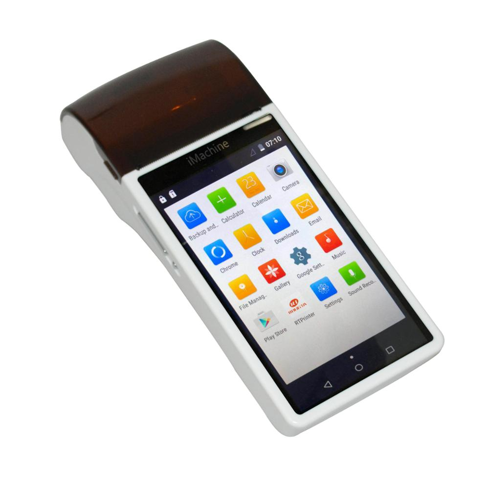 Handheld pos terminal all in one mobile android with touch screen GPRS bluetooth WIFI barcode and QRcode scanner receipt Printer