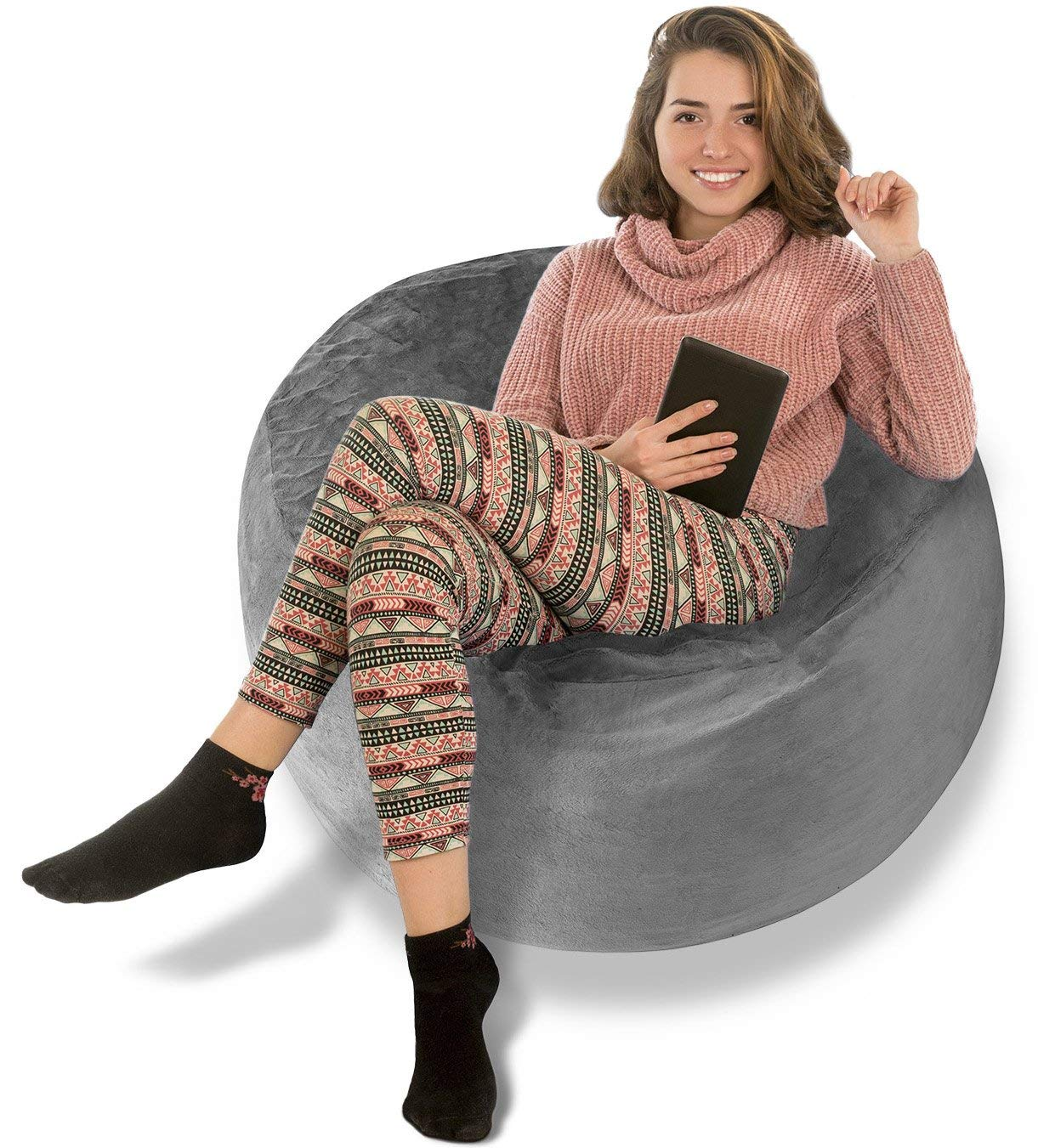 BeanBob Bean Bag Chair (Steel Grey), 3ft - Bedroom Sitting Sack for Kids & Adults w/Super Soft Foam Filling