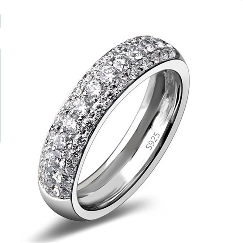 White gold plated wedding rings engagement party jewelry for women inlay AAA CZ diamond jewelry bijoux