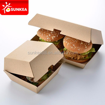 Paper Clamshell Burger Hamburger Container For Hot And Cold Food