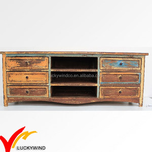 Antique Reclaimed Boat Wood Furniture Cabinet Usage Shabby Chic TV Stand