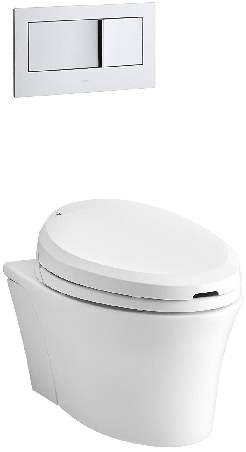 KOHLER K-6304-0 Veil Elongated Dual-Flush Wall-Hung Toilet with C3 Toilet Seat and Bidet Functionality, White, 1-Piece