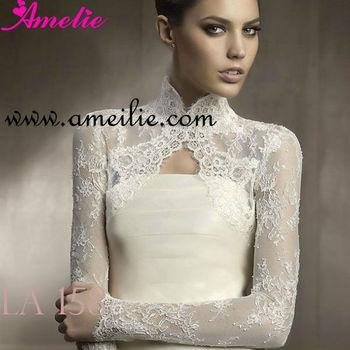 High Neck Long Sleeve Bridal Bolero Jacket - Buy Bridal Bolero ...