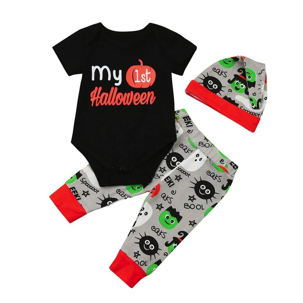 Newborn Baby Boys Girls Halloween Clothes Pumpkin and Letter Print Romper Jumpsuit+Pants Set 3PCS (6-12 Months, Black)