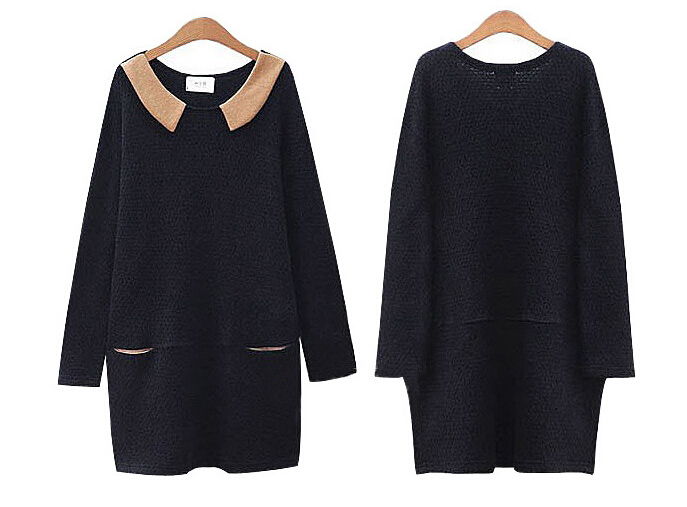 2015 Women Sweater Dress Autumn Winter Knitted Pullovers Women s dress Good  Quality Knit Dresses Black 7266cedae9e3