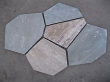 flagstone tile sticked onto net in beige color