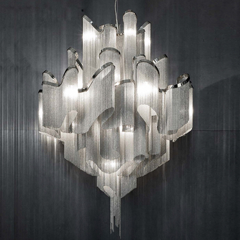 Steel Chain Chandelier Decorative Hanging With K9 Crystal Led Light Chandeliers