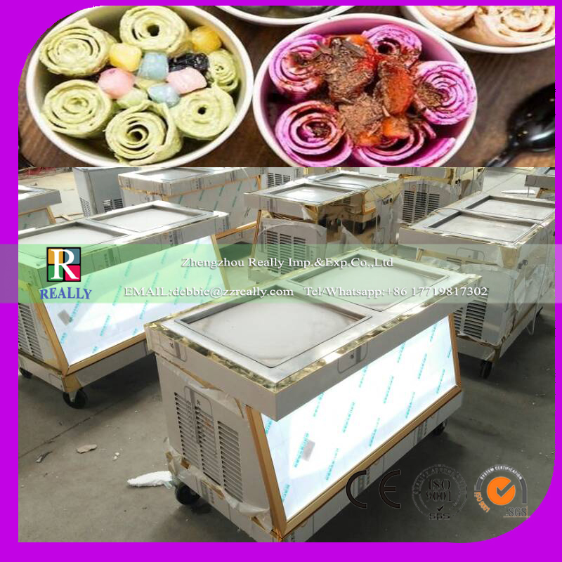 square double pan fried ice cream machine ice cream machine roll double roll compressor milk