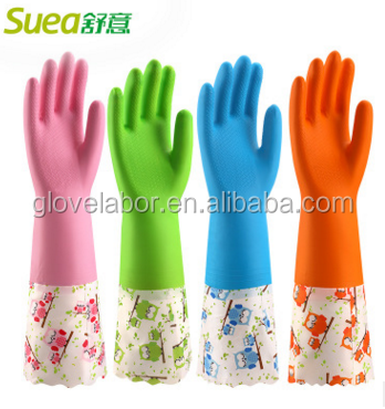 Long cuff Latex household rubber gloves