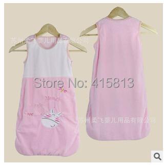 Лето новорожденный Sleepsacks 100% хлопок фланель 2 слоя 0-18months младенцы без рукавов вышивка сон мешок младенцы мешки