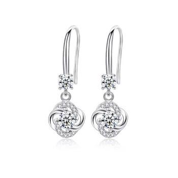 Diamond Hook Earring Fashion 925 Sterling Silver Brilliant Earrings For Women