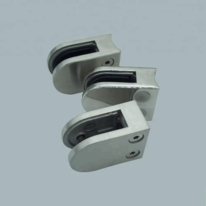 Stainless steel round back D glass balustrade bar clamp glass clip