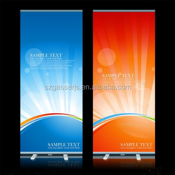 Retractable aluminuim roll up banner stand for display