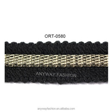 Black woolen yarn crochet chain trim