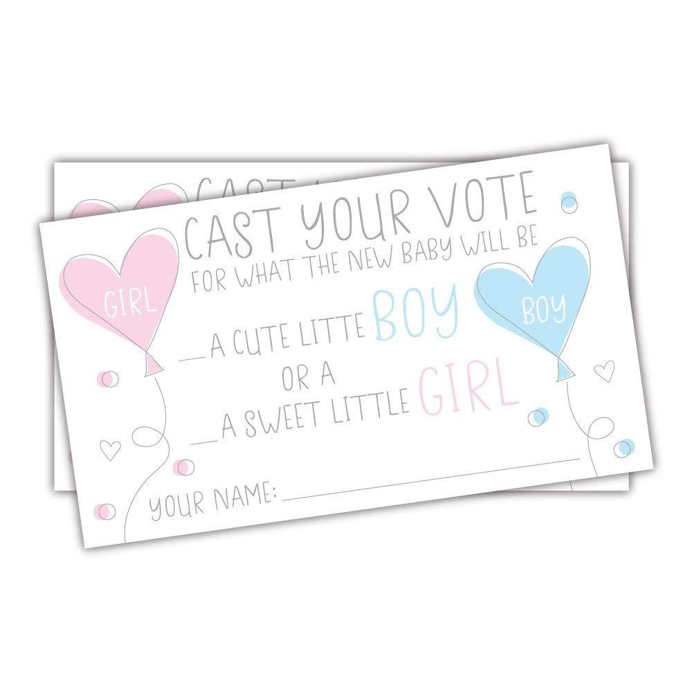 50 Gender Reveal Baby Shower Voting Cards