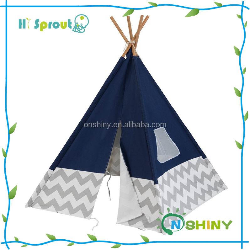 Cotton canvas wood poles Kids play rooms Teepee Play Tent