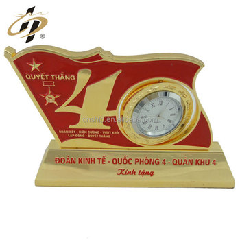 Custom zinc alloy hard enamel metal clock trophy with gold plated