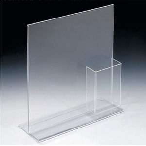 Custom clear plastic menu sign holder poster display with brochure holder