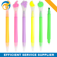 Promotional Fruit Multi function Twin Tip Plastic Ball Pen with Hightlighter