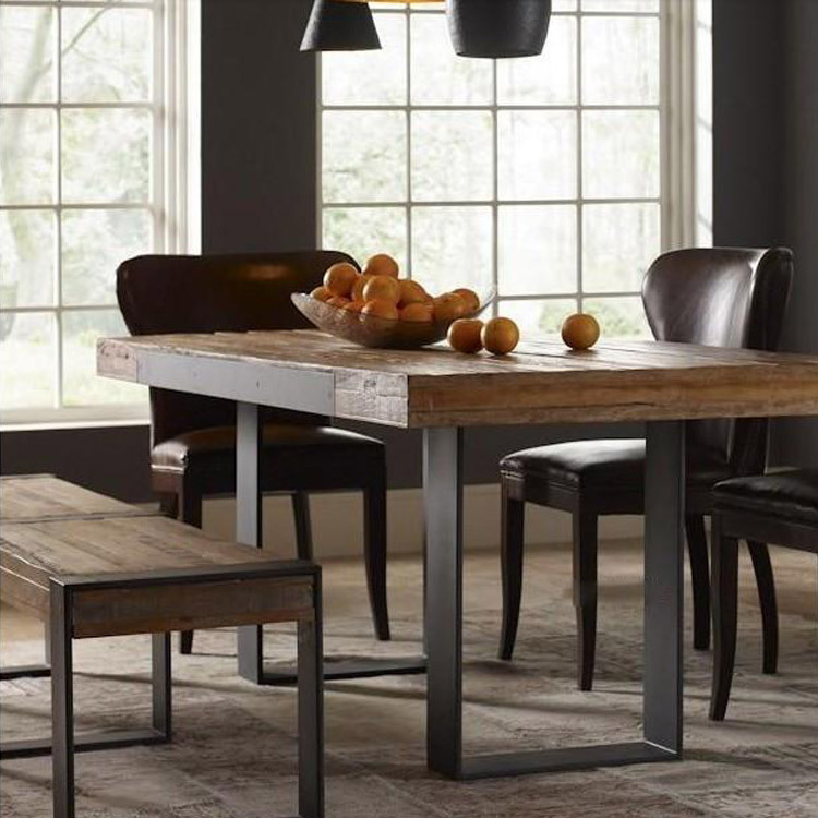 Wrought Iron Wood Dining Table: American Retro To Do The Old Wrought Iron Wood Dining
