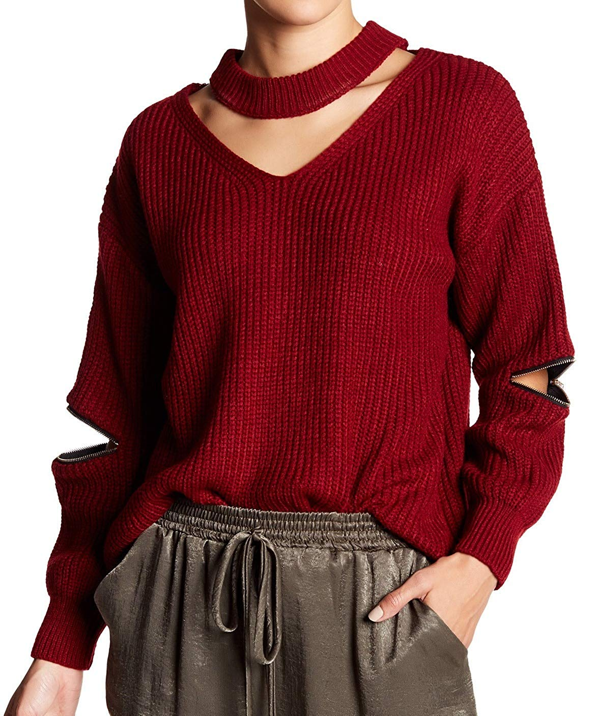 5e56026eab9 Get Quotations · Leibl  38 Womens Medium V-Neck Cutout Zip-Elbow Sweater  Red M