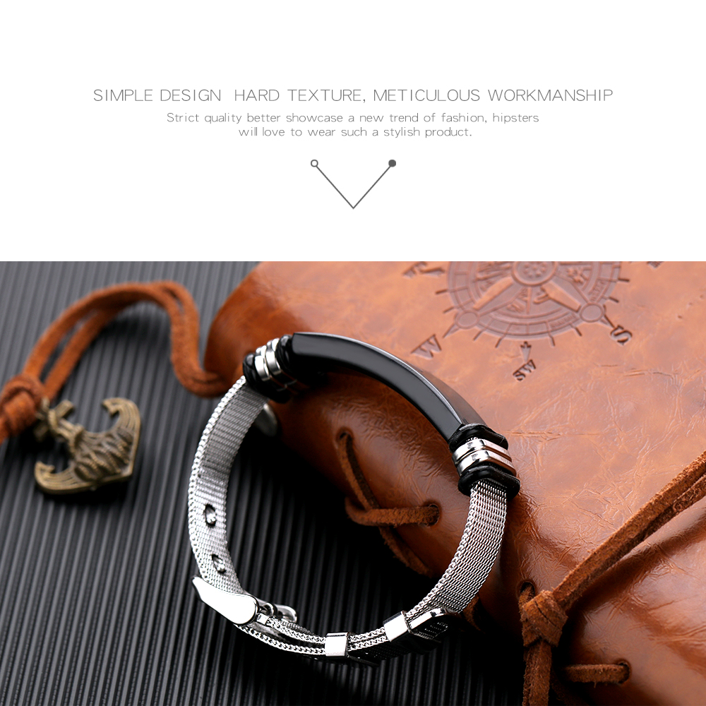Wholesale Jewelry Engraved Man Stainless Mesh Bracelet