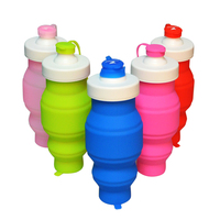 custom logo 580ml silicone sports water bottle for travel and camping