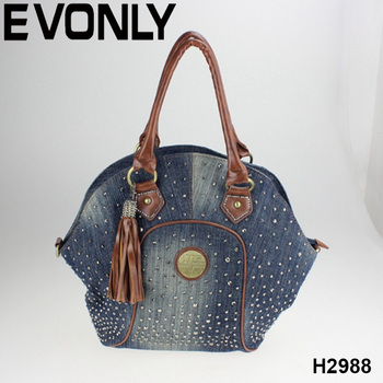 Factory Manufacturing Denim Handbags With Tassels Fashion Purses Las