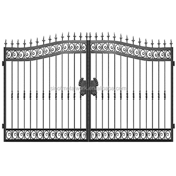 European Style Wrought Iron Double Gate Vintage Metal Garden Gate Steel  Customized Gate