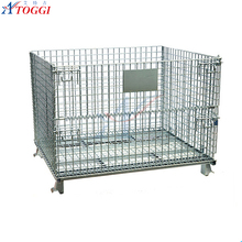 collapsible metal wire basket carts with 4 wheels for storage