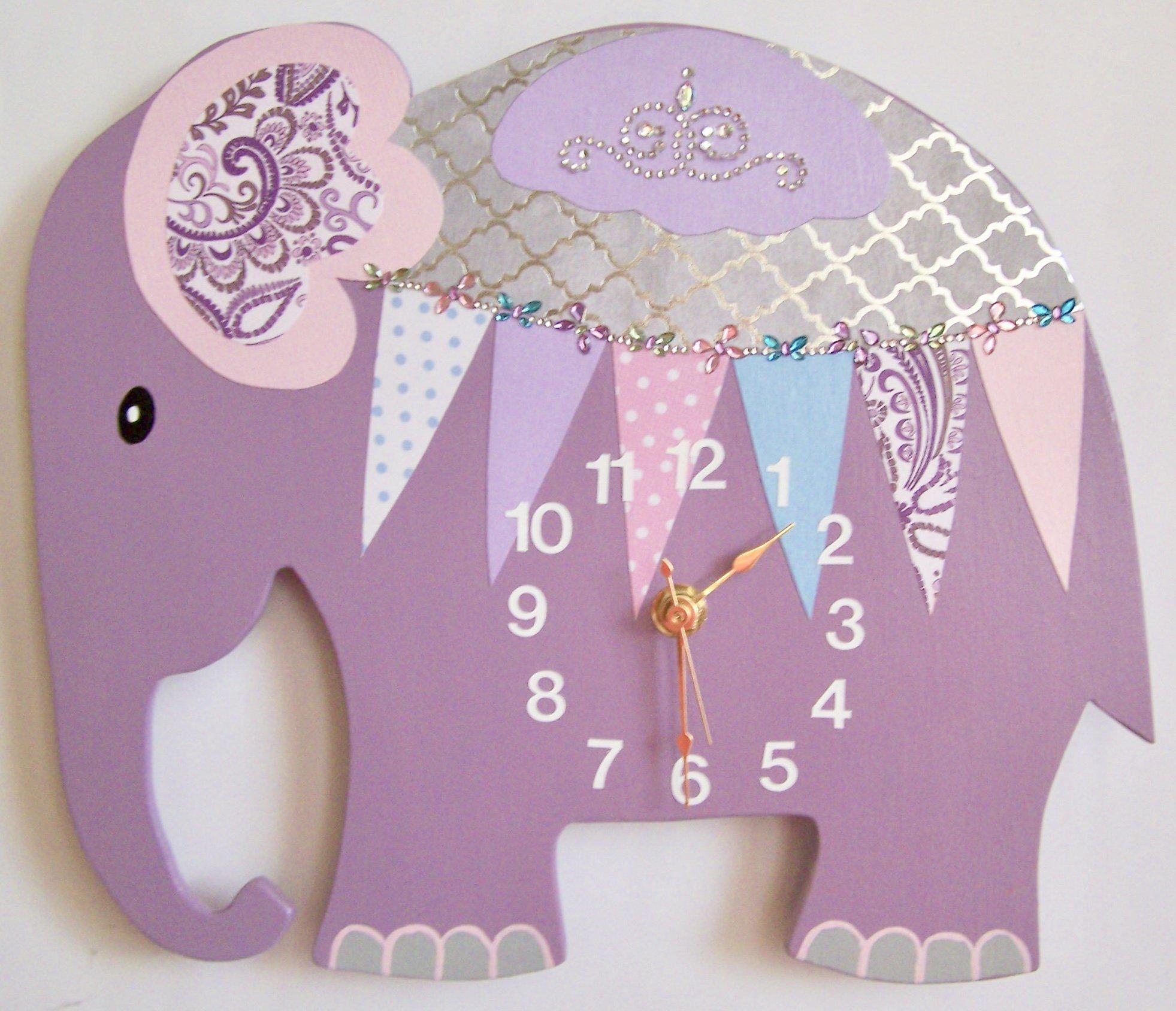 Get Quotations Nursery Wall Clock Elephant Purple Children S Room