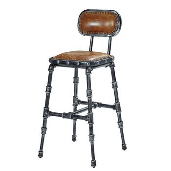 Water Pipe Frame Vintage Leather Retro Bar Chair - Buy Retro Bar ...