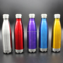 Coke bottle shape double layer stainless steel vacuum sports water bottle