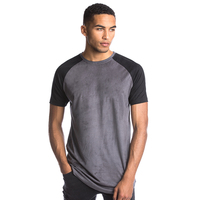 Two tone contrast suede t shirts mens t shirt wholesale manufacturing company for apparel
