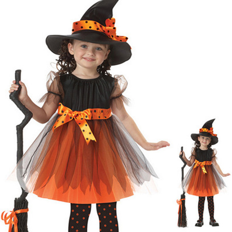 2016 Hot Halloween Cosplay for Girl Witch Suit and Hat Kid Party Christmas Costume font b