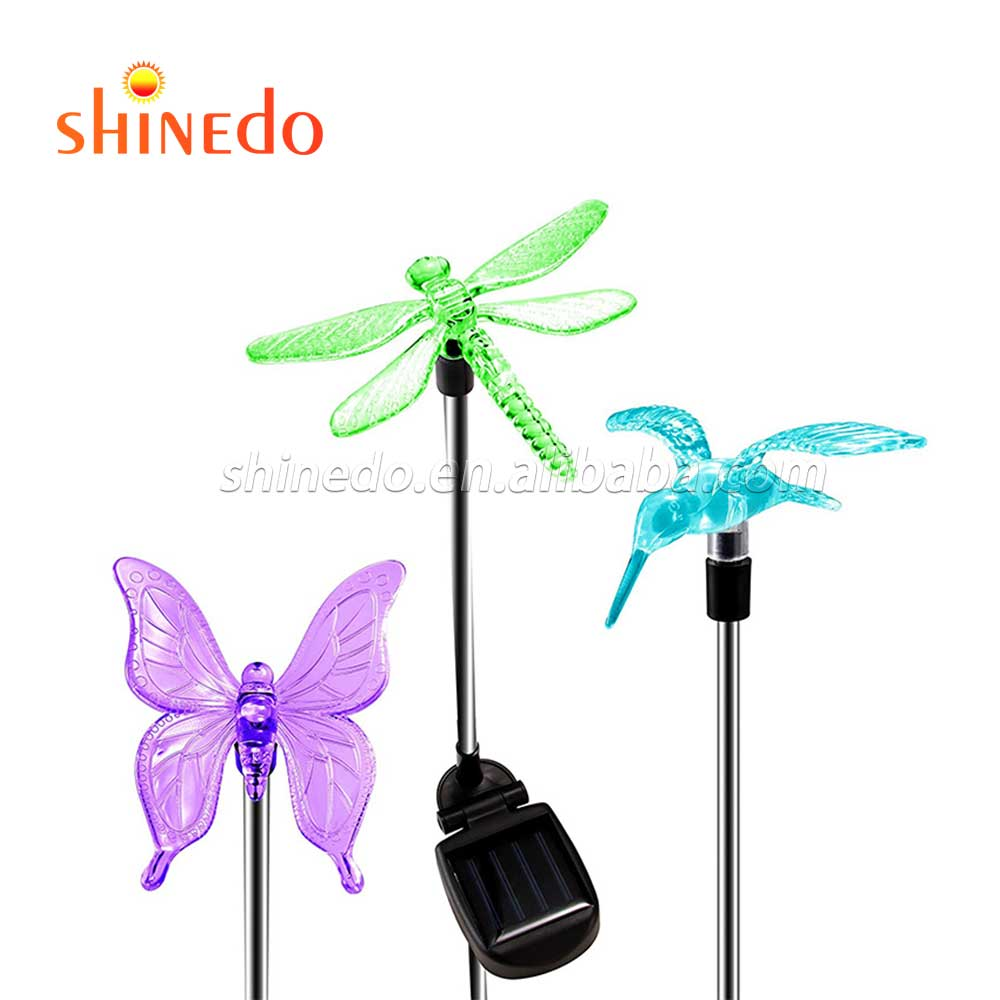 DRAGONFLY SOLAR GARDEN STAKE LIGHT DECOR NEW UNIQUE DESIGN AND STAKE PLACEMENT