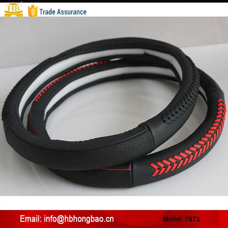 2014 Guangzhou new design cowhide/ genuine leather steering wheel cover