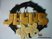Jesus Crown of Thorns and Lily - Wooden craft