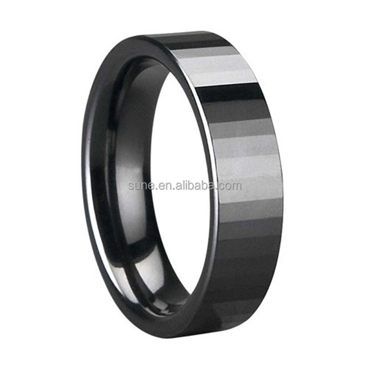 4MM Wide Rings Comfort Fit Multi Faceted Men Women Black Ceramic Ring Engagement Brand Ceramic Jewelry