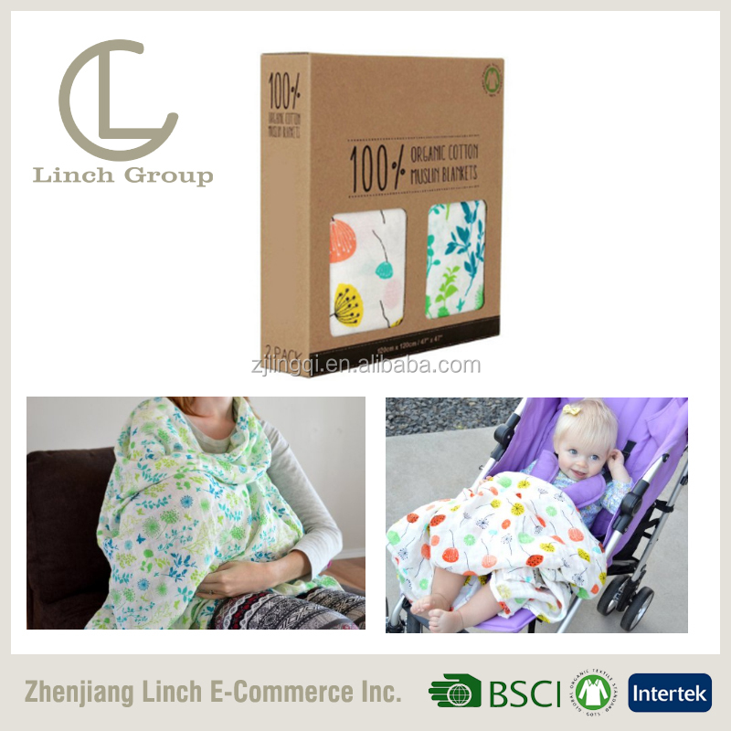 LC BT-008 Baby swaddle 2-layer muslin blanket custom print muslin swaddle manufacturer in China