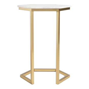 Triumph Marble And Gold Margaux Laptop Table Golden Frame Side With Artifical Stone Top