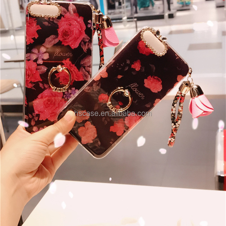 for iphone 7 7 plus case <strong>Fashionable</strong> with lanyard flower ring stand luxury glitter flower phone case for iphone 6 6 6 plus