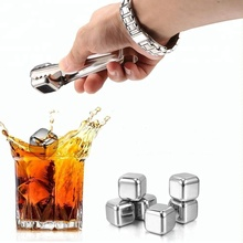 2017 Amazon Top Seller! Whiskey Stones - Set of 8 with Tongs, Plastic Storage Box , Reusable Stainless Steel Ice Cubes